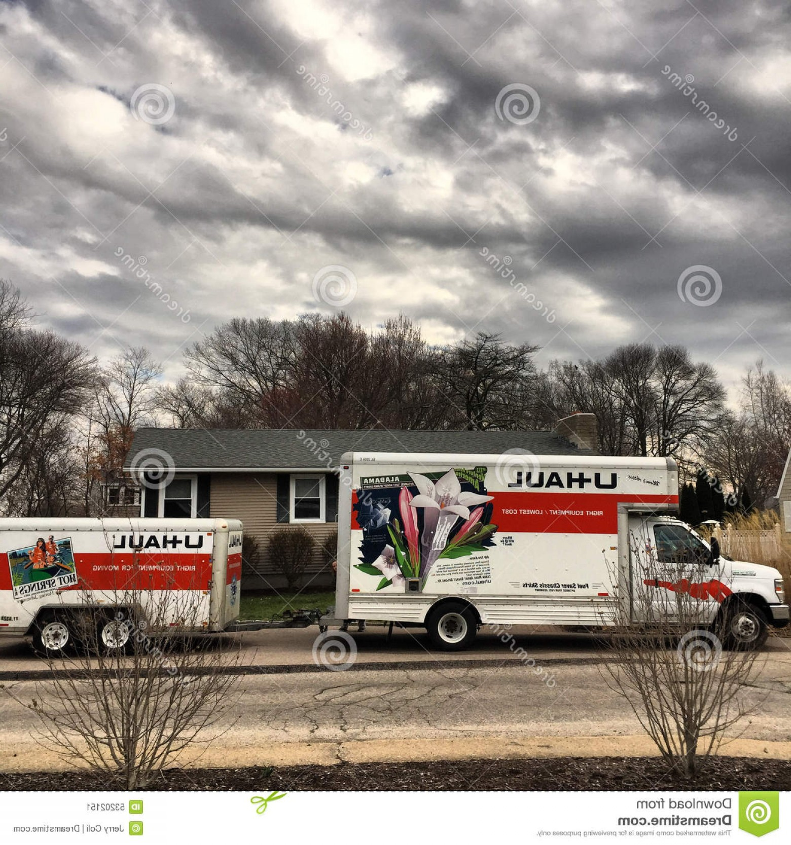 U-Haul Logo Vector Clip Art: Editorial Photo U Haul Moving Day Truck Trailer Sit Driveway Waiting To Move Another Family To Another Home Image