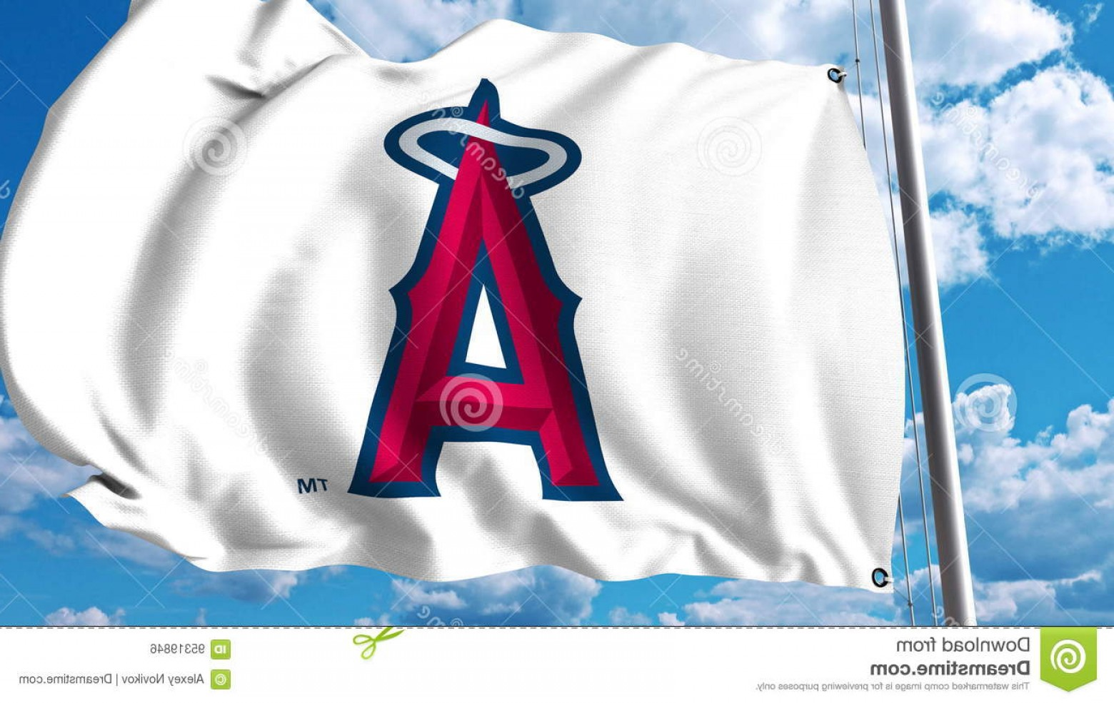 Anaheim Angels Logo Vector Art: Editorial Photo Waving Flag Los Angeles Angels Anaheim Professional Team Logo Editorial D Rendering Image
