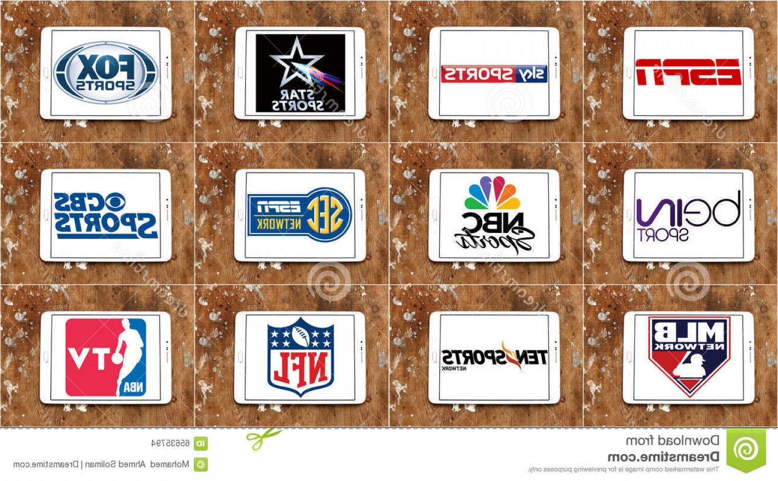 MLB Vectors: Editorial Stock Image Logos Top Famous Tv Sports Channels Networks Collection Vectors Most Popular Television World White Tablet Image