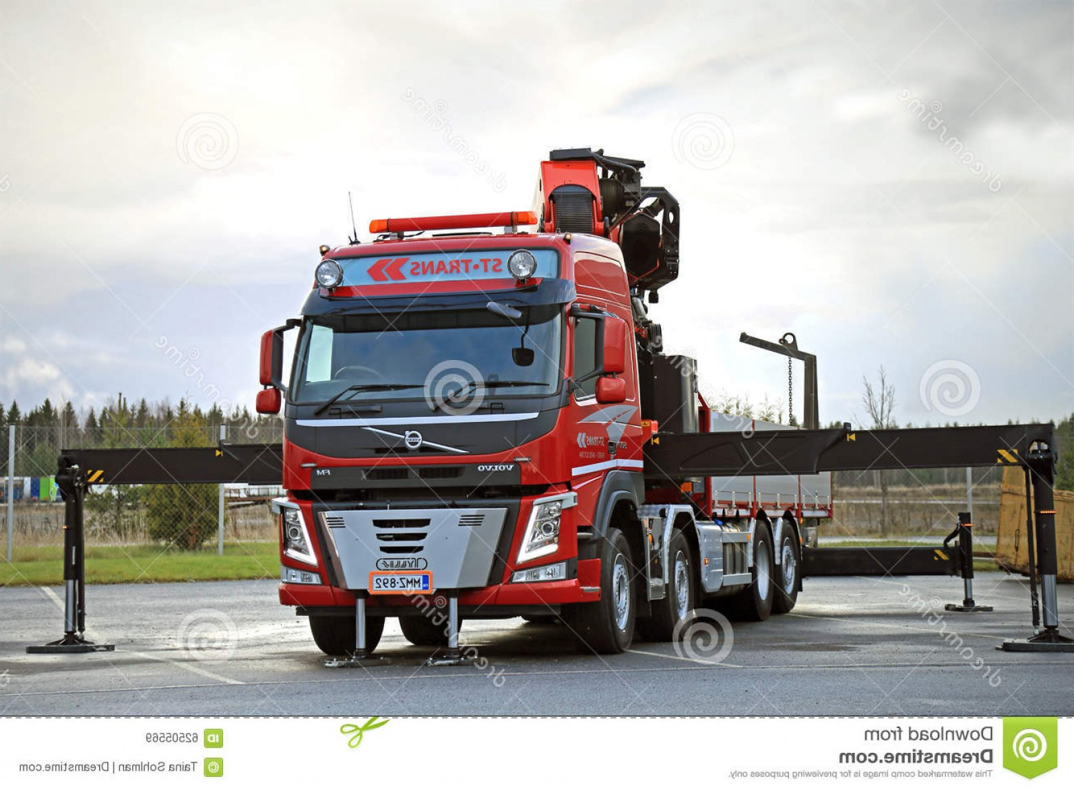 Volvo FH Vector: Editorial Stock Image Red Volvo Fm Truck Equipped Heavy Crane Lieto Finland November St Trans Displayed Center Turku Demo Drive Image