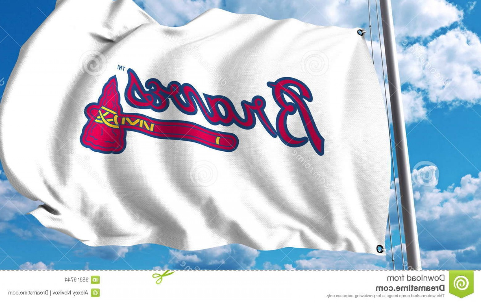 Braves Logo Vector: Editorial Stock Image Waving Flag Atlanta Braves Professional Team Logo Editorial D Rendering Image