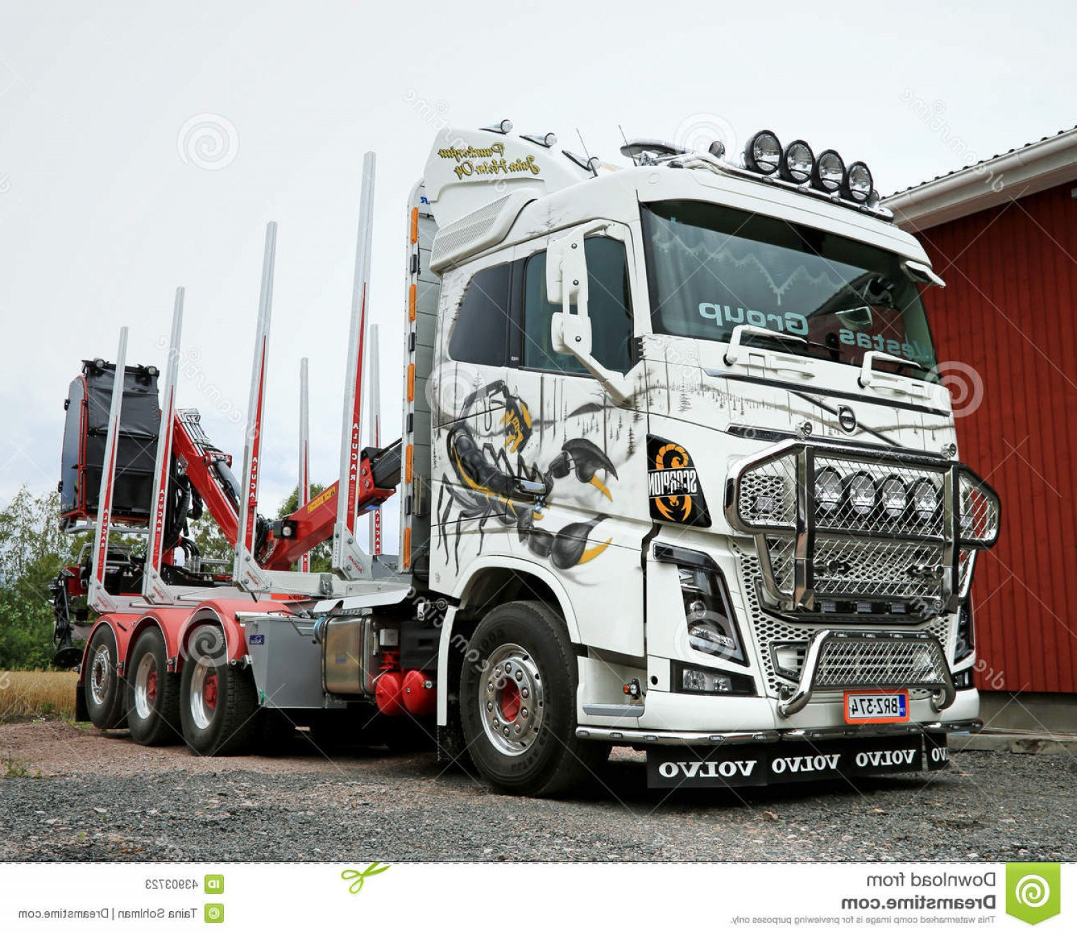Volvo FH Vector: Editorial Stock Photo Volvo Fh Logging Truck Ponsse Scorpion Koski Tl Finland August Airbrush Paintings Harvester Wins Fennia Image