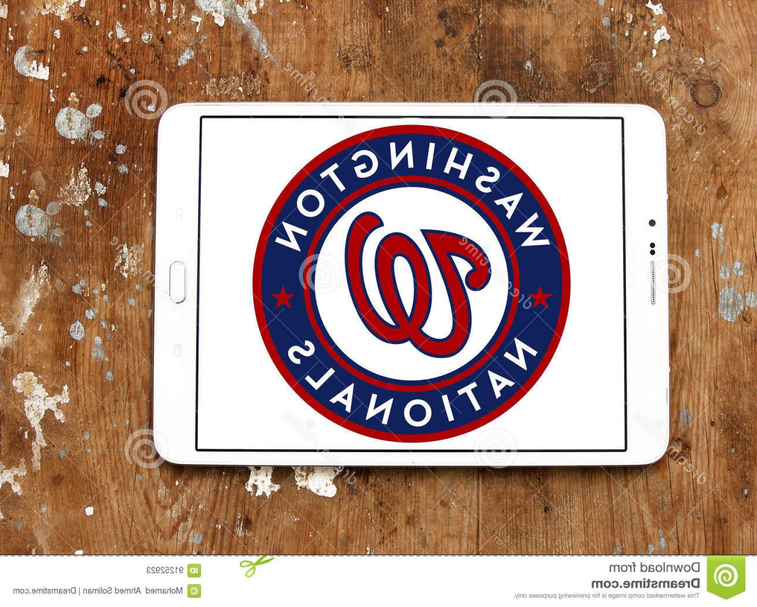 Washington Nationals Logo Vector: Editorial Stock Photo Washington Nationals Baseball Team Logo Samsung Tablet Wooden Background Professional Image