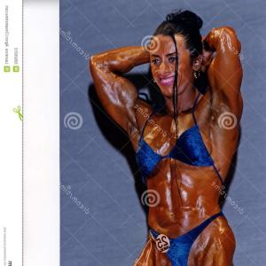 Vector Abstract Woman Bodybuilder Physique: Muscle Man Silhouette Graffiti Icon On