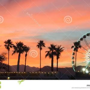 Map Of Coachella Valley Vector: Editorial Stock Photo Coachella Valley Sunset Palm Trees Ferris Wheel Background S Image
