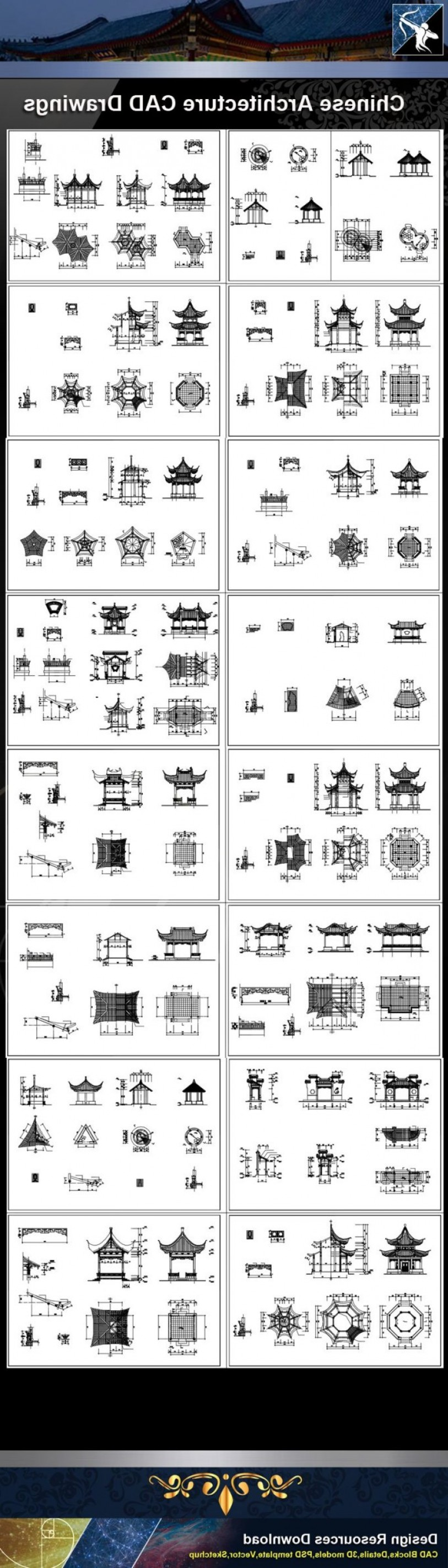 Falcon 50 Vector 2D CAD Drawings: Eechinese Architecture Cad Drawingsechinese Pavilion Drawingscad Detailselevation