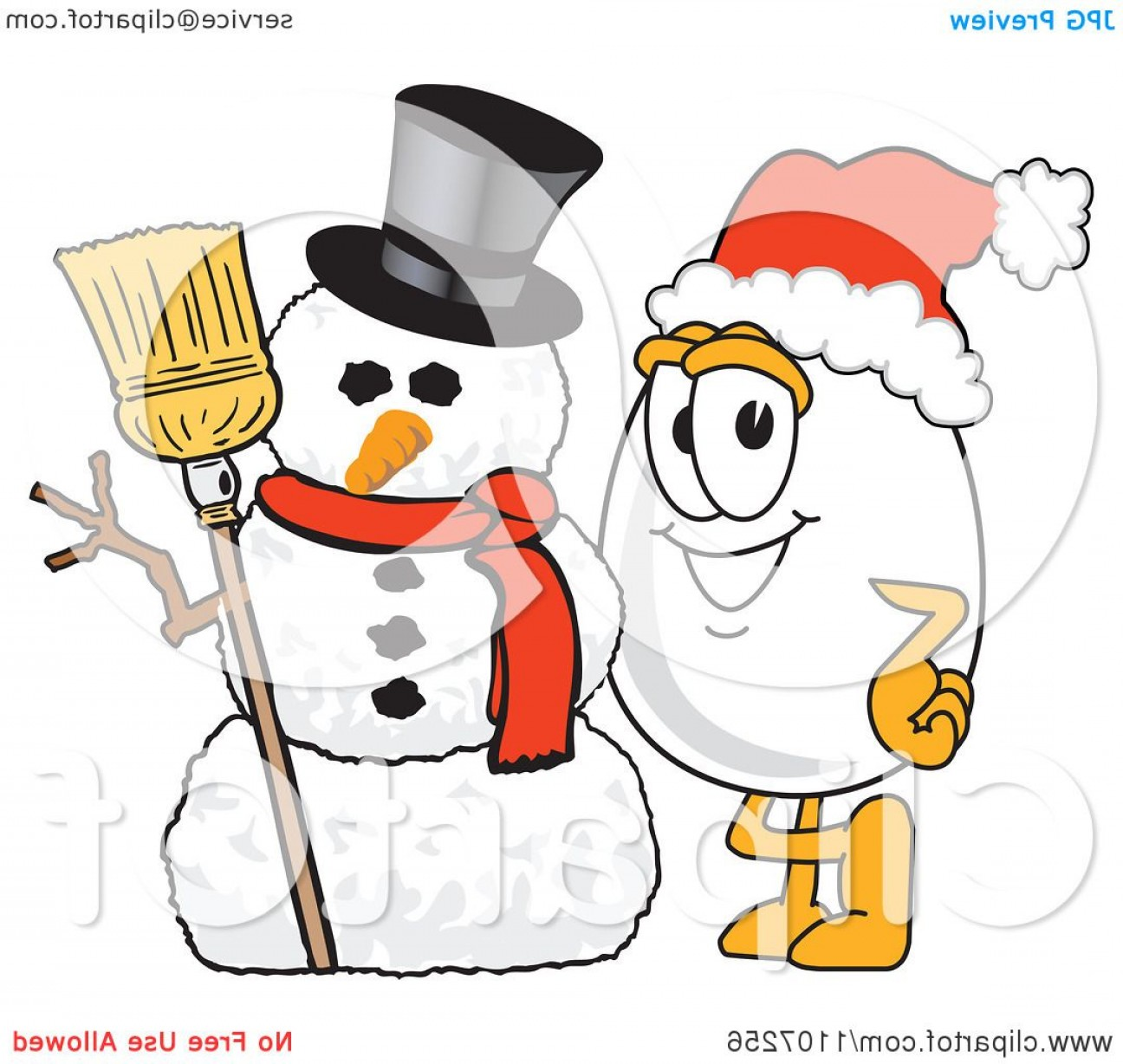 No Hat With Snowman Vector: Egg Mascot Character With A Christmas Snowman And Santa Hat