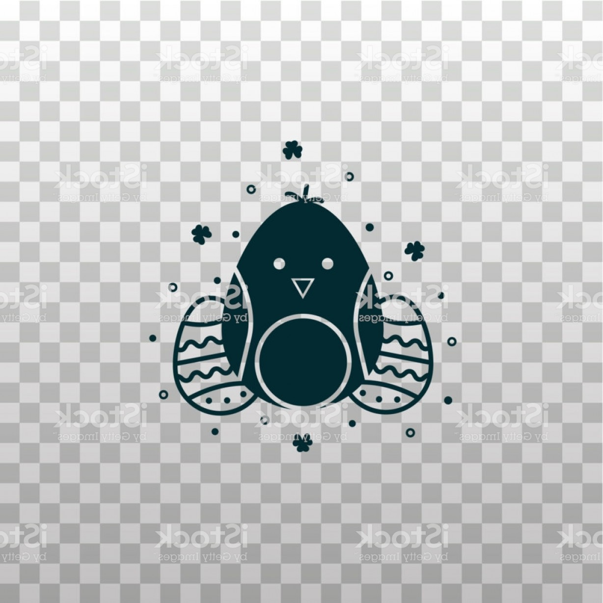 Easter Vector Art No Background: Egg Shaped Easter Chicken Character Emoji Emoticon Black Silhouette Icon On Gm