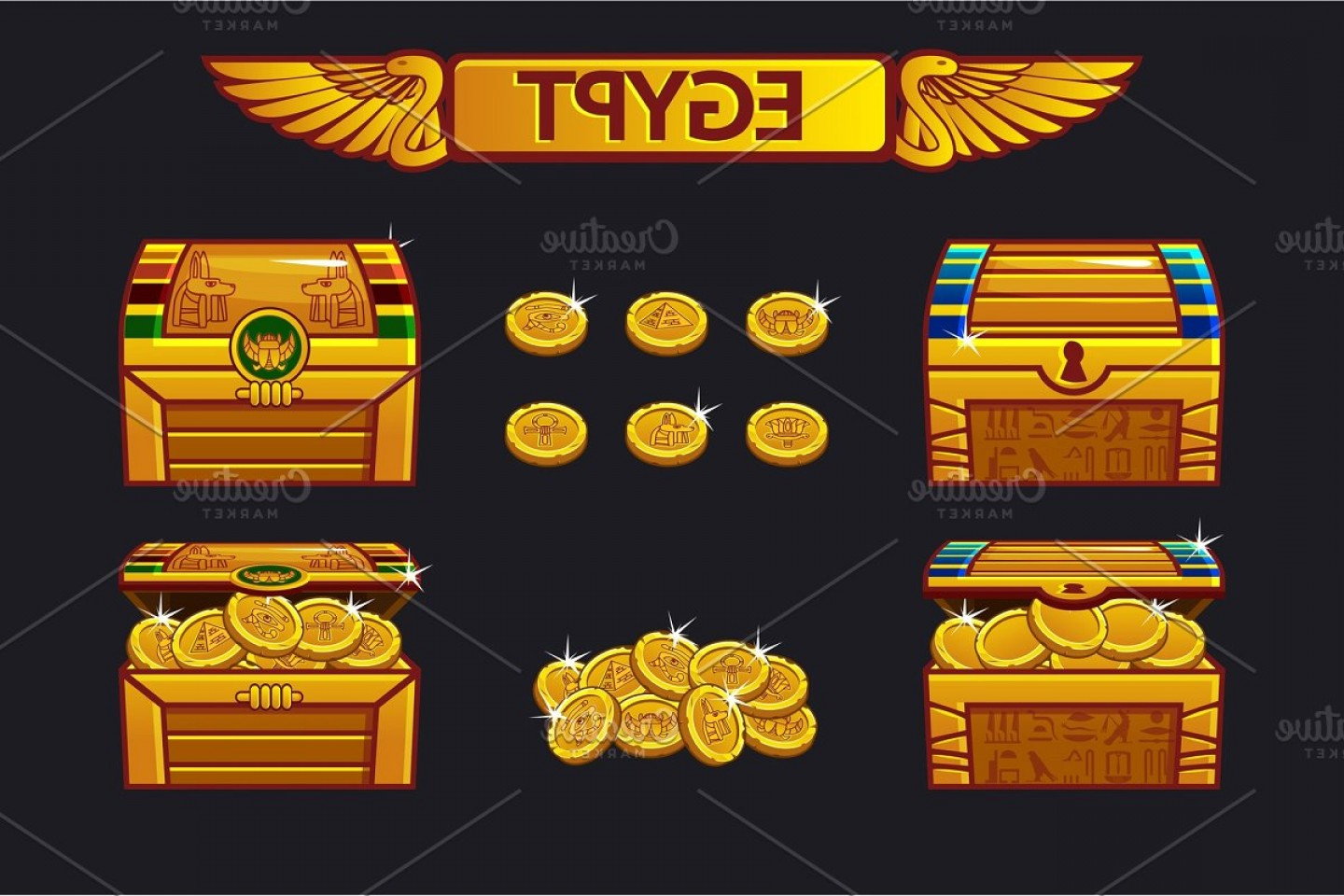 Egyptian Money Symbol Vector: Egypt Antique Treasure Chest And Golden Coins