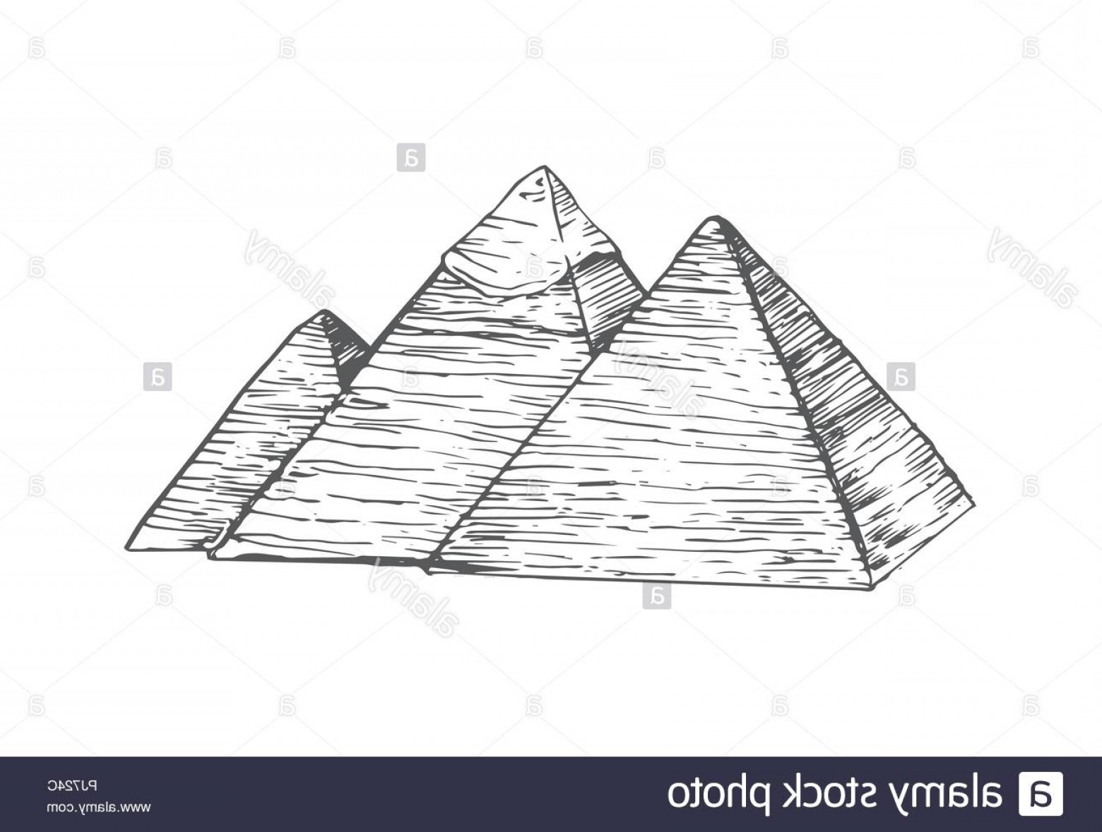 Piramids Vector Art: Egypt Pyramids In Flat Style Isolated On White Background Image
