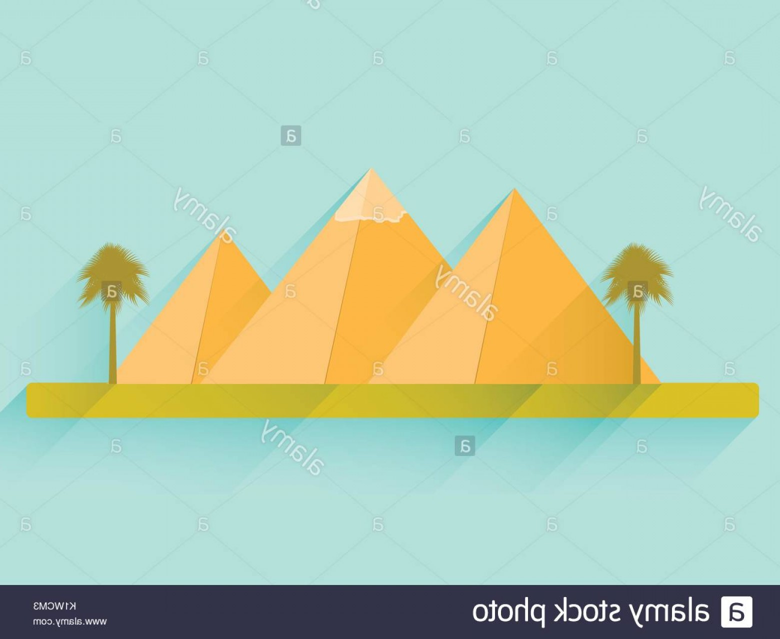 Piramids Vector Art: Egyptian Pyramids Flat Pyramids Landscape With The Egyptian Pyramids Image