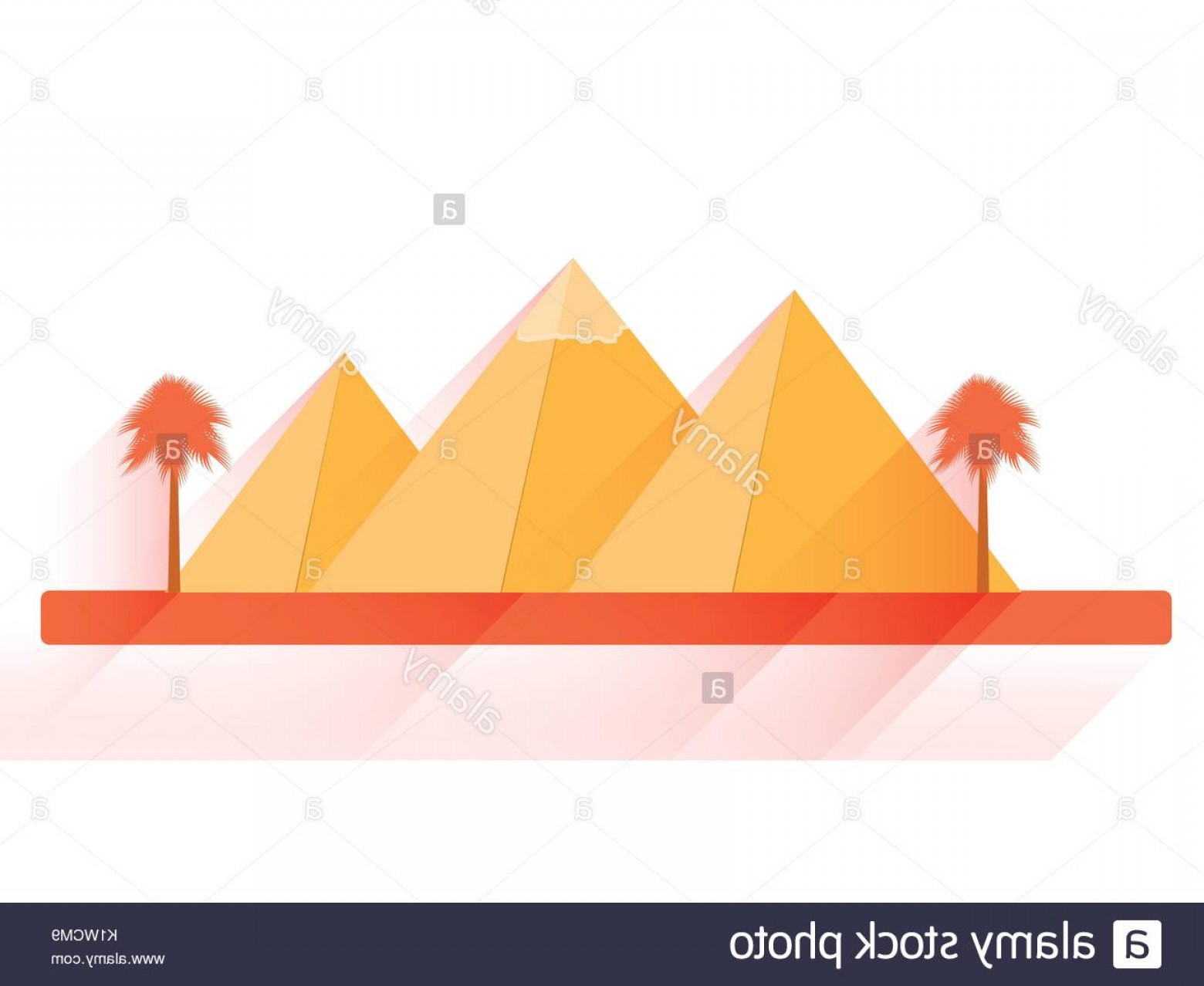 Piramids Vector Art: Egyptian Pyramids In Flat Style With Long Shadows On White Background Image