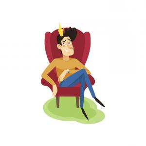 Singer Prince Symbol Vector: Egotistical Modern Prince Sitting On A Throne Vector