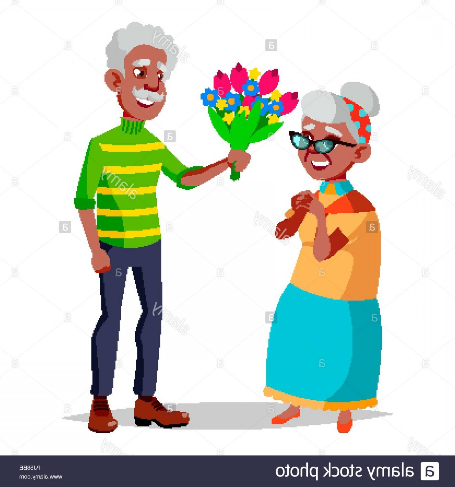 Happy Elderly Vector: Elderly Couple Vector Modern Grandparents Feeling Happy Aged Black Afro American Isolated Flat Cartoon Illustration Image