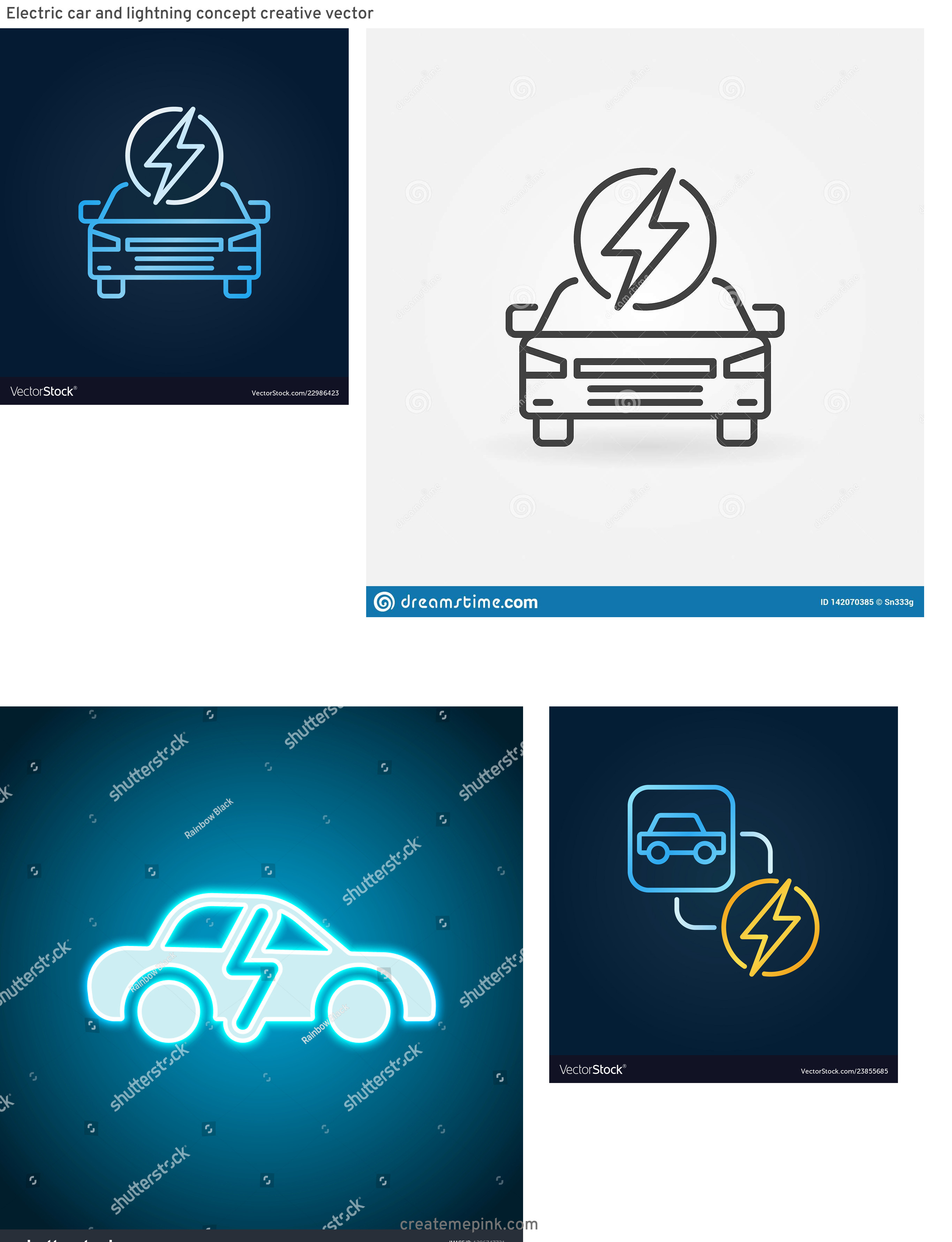Lightning Car Graphics Vector: Electric Car And Lightning Concept Creative Vector