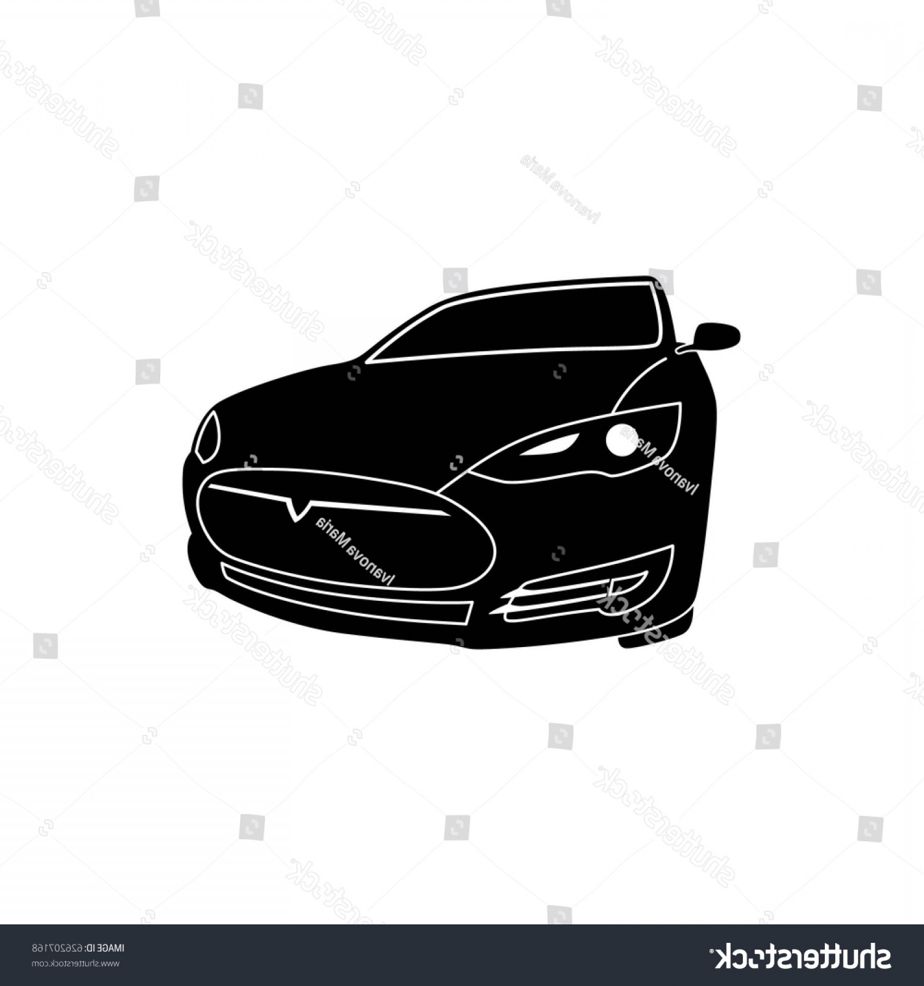 Car Vector Front Elevation: Electric Modern Car Tesla Vector Black