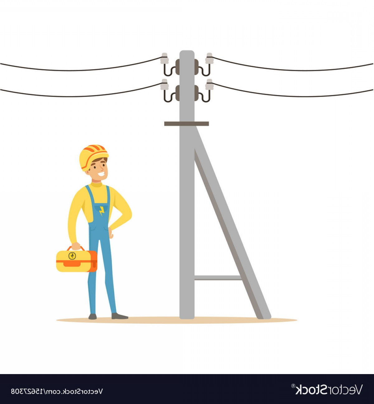 Vector Pole: Electrician Working On Electric Power Pole Vector