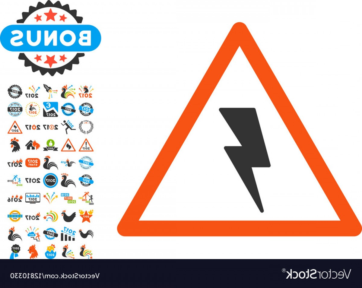 Flash 2017 Symbol Vector: Electricity Shock Warning Icon With Year Vector