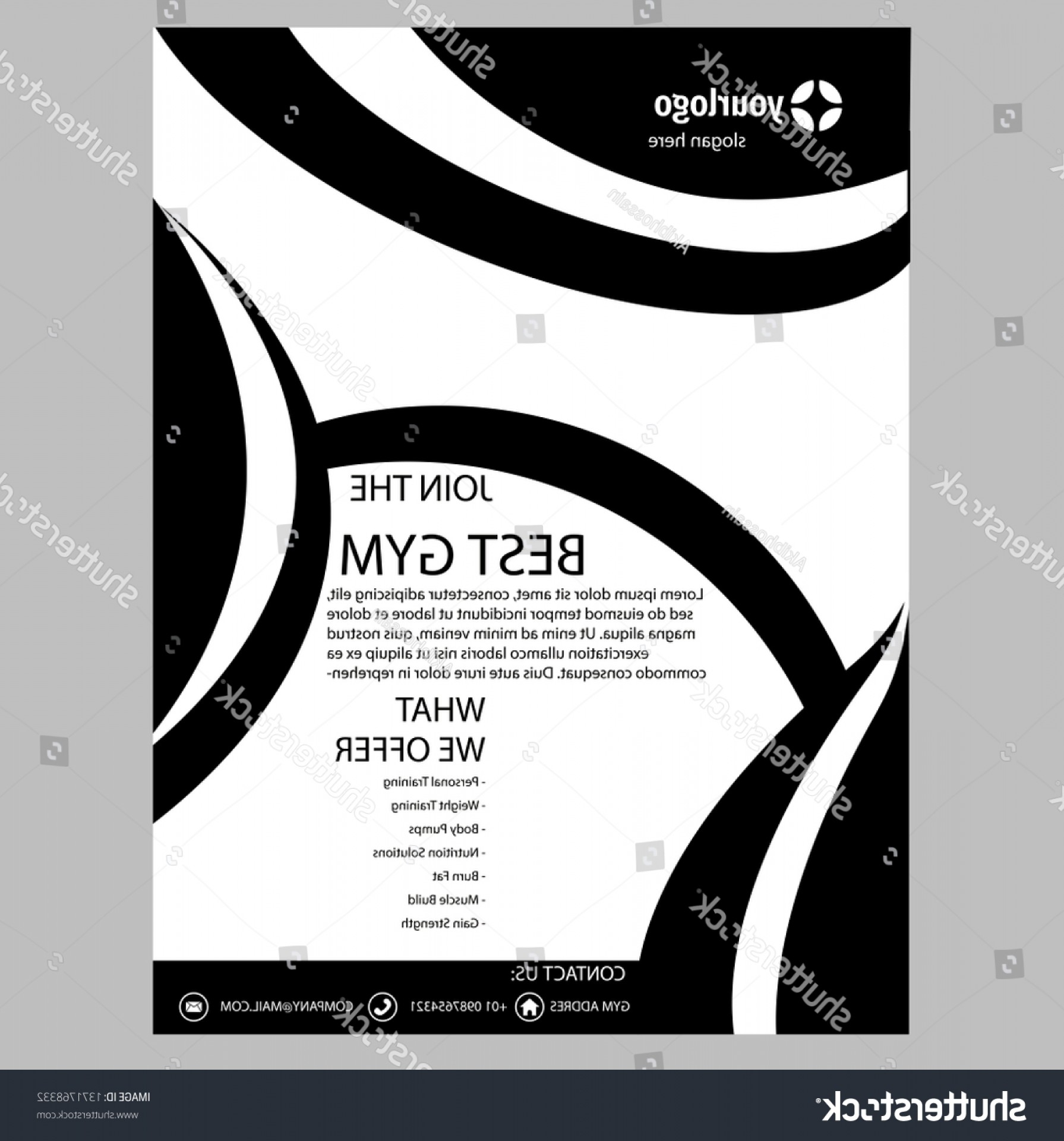Black And White Flyer Vectors: Elegant Black White Flyer Template Vector