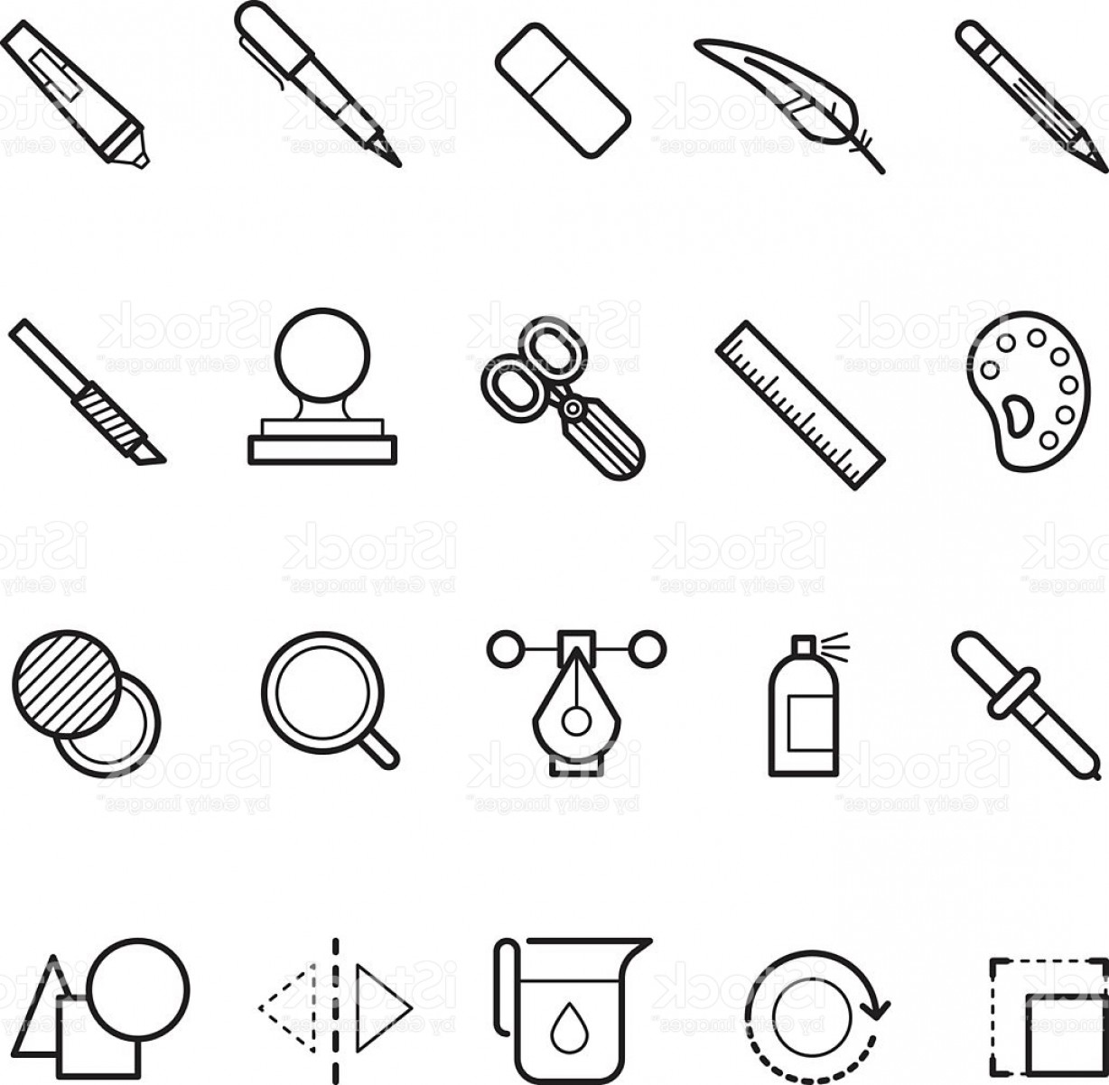 Tools For Text Vector: Elegant Drawing Design Tools Vector Line Text Editor Icons Set For Gm