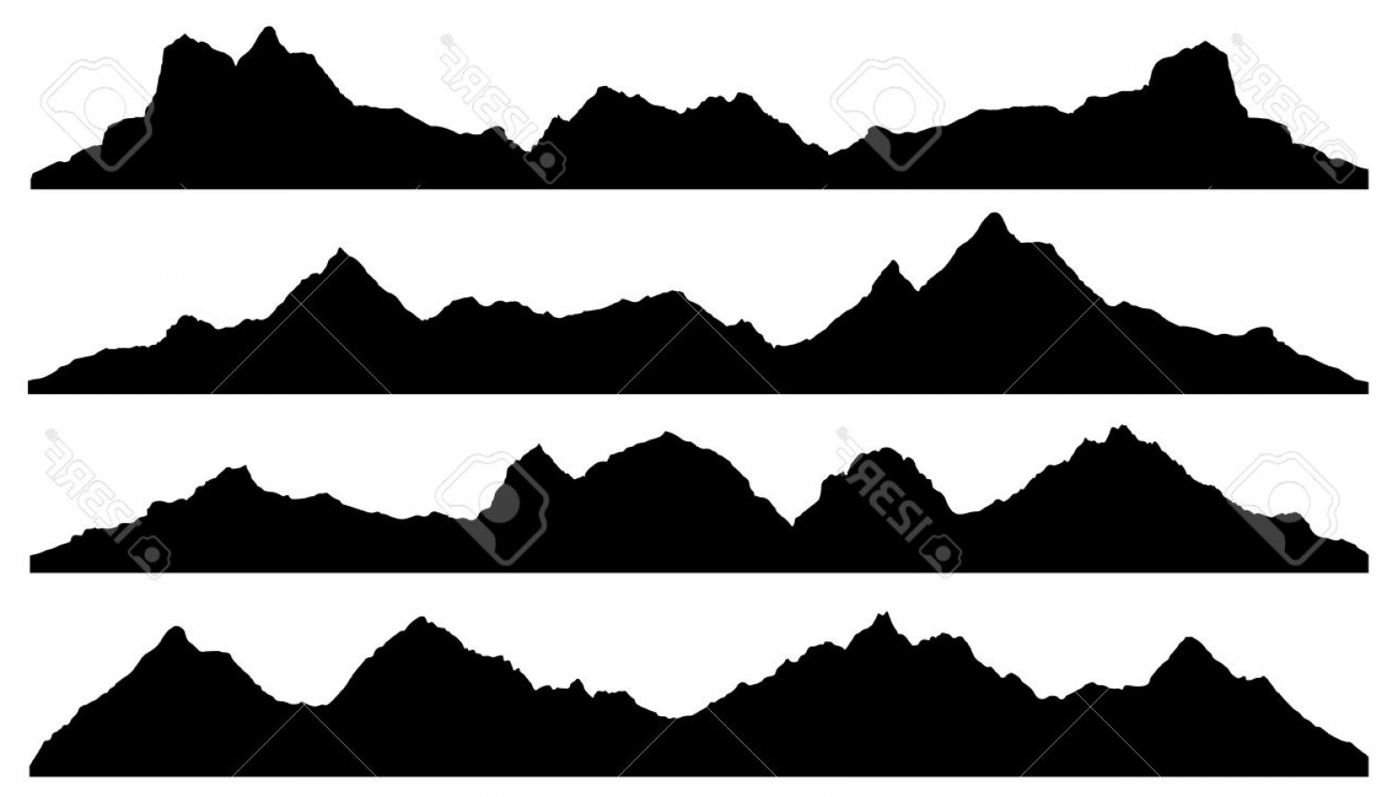 Mountain Range Silhouette Vector Free: Elegant Photostock Vector Mountain Silhouettes On The White Background