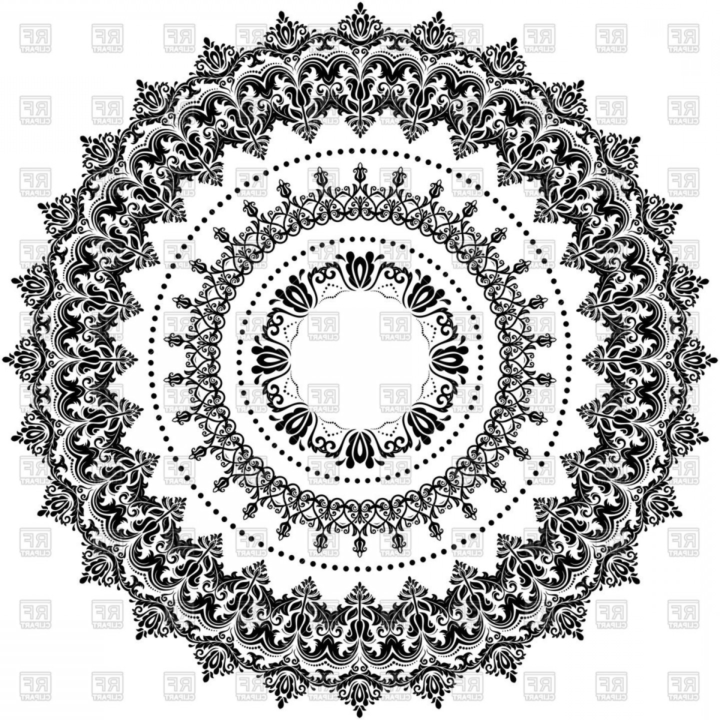 Black And White Circle Vector Graphics: Elegant Round Black And White Ornament Vector Clipart