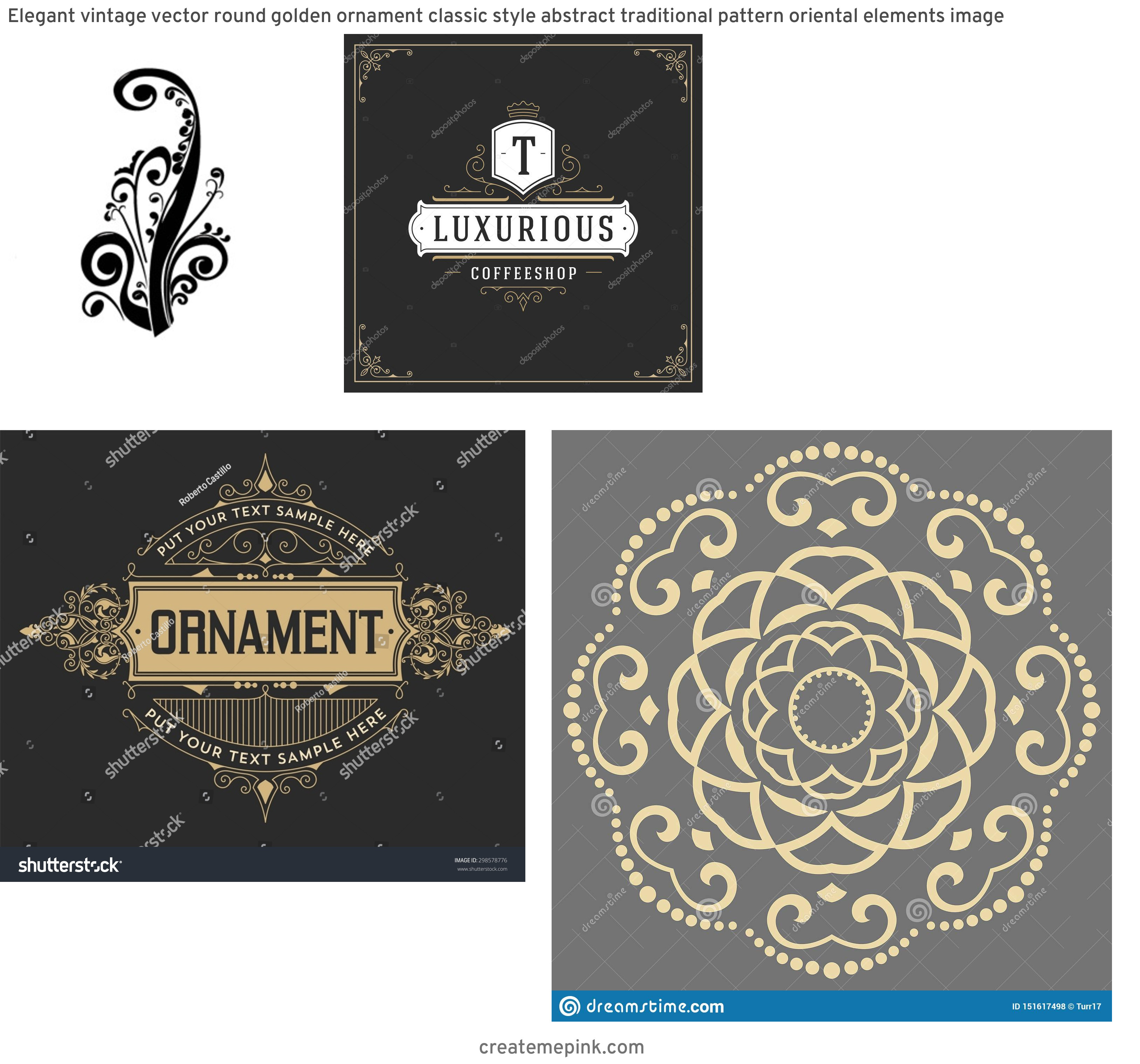 Elegant Vector Flourishes: Elegant Vintage Vector Round Golden Ornament Classic Style Abstract Traditional Pattern Oriental Elements Image