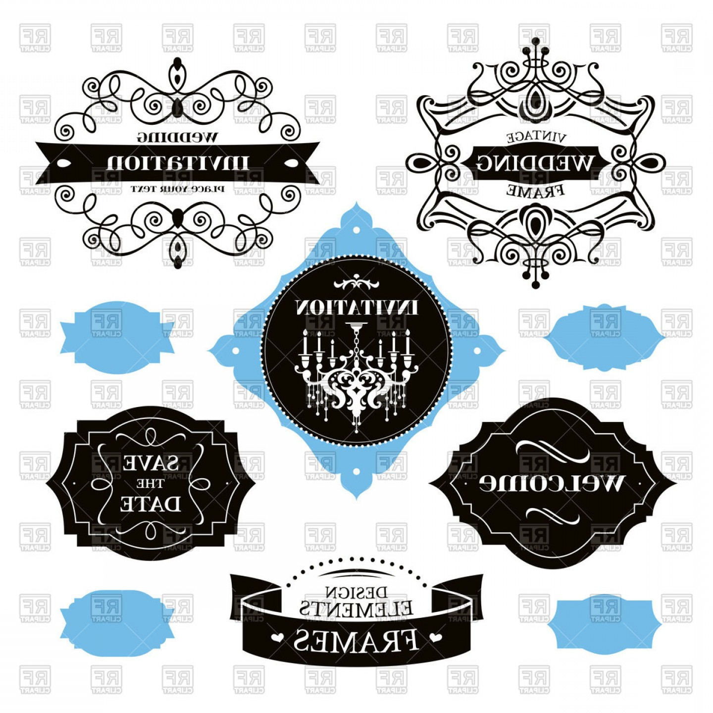 Elegant Wedding Vector Graphics: Elegant Wedding Frames And Labels Vector Clipart