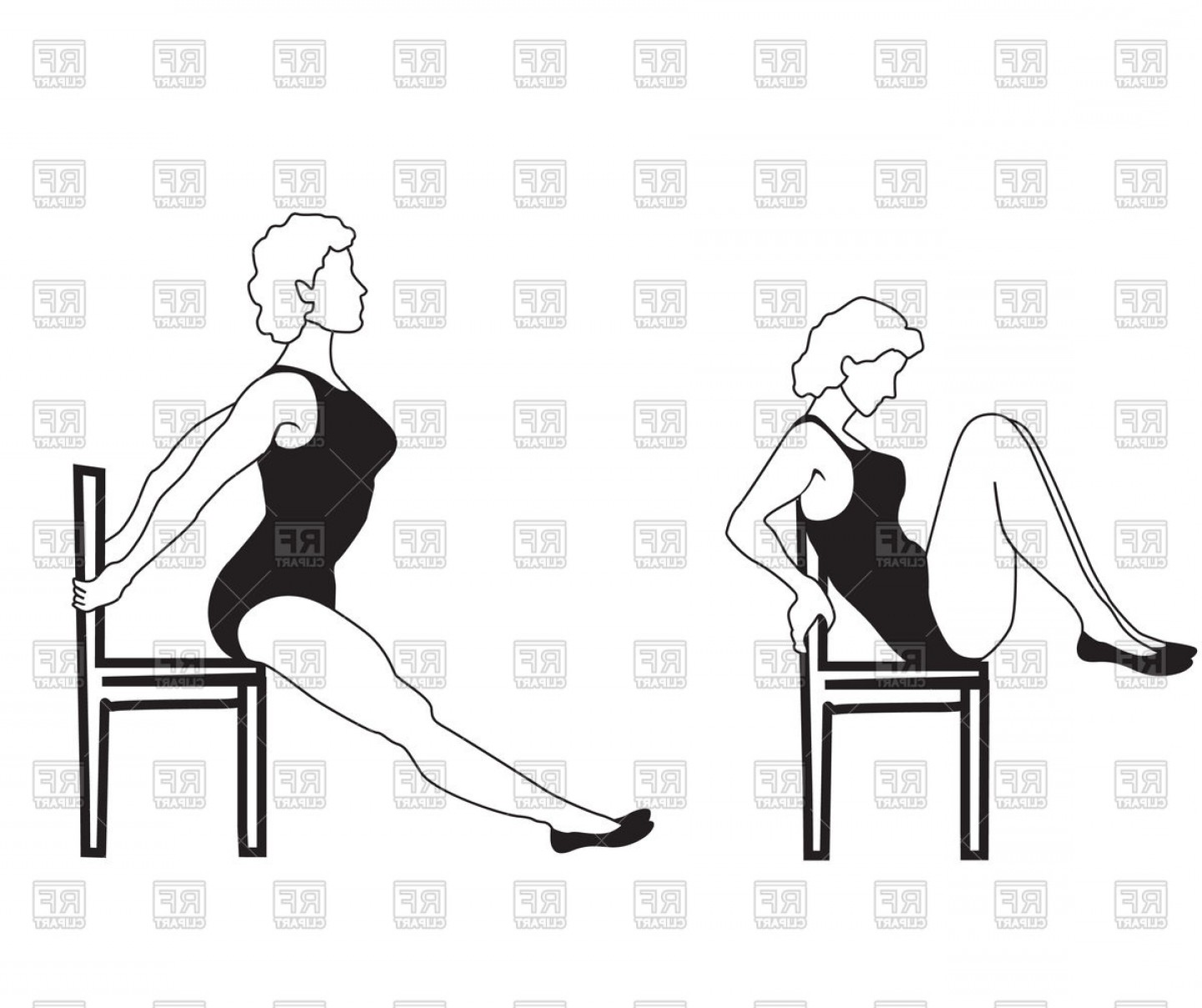 Elegant Woman Silhouette Vector: Elegant Women Silhouettes Doing Fitness Exercises On Chair Vector Clipart