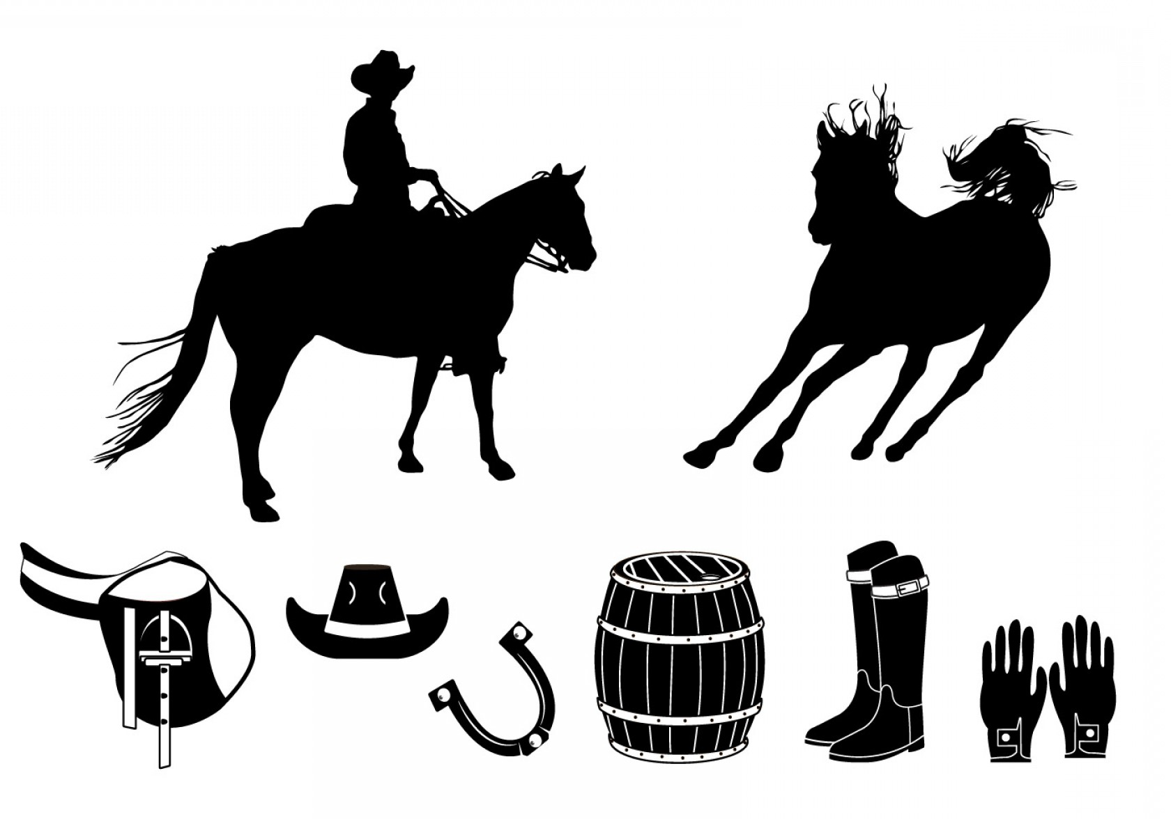 Barrel Racer Vector: Element Of Barrel Racing Silhouette