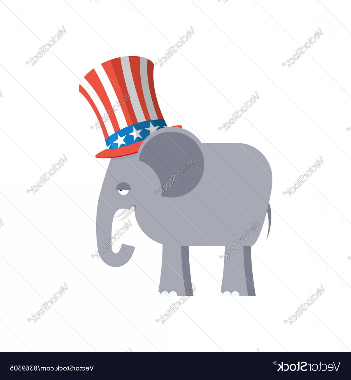 Republican Elephant Vector: Elephant In Uncle Sam Hat Republican Elephant Vector
