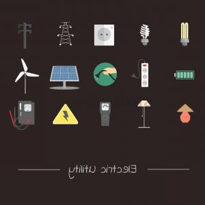 Vector Power Plant Utility: Electrical Utility Appliances And Transmission Icon Set