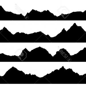 Mountain Range Silhouette Vector Free: Cute Photomountain Range Isolated On White Illustration
