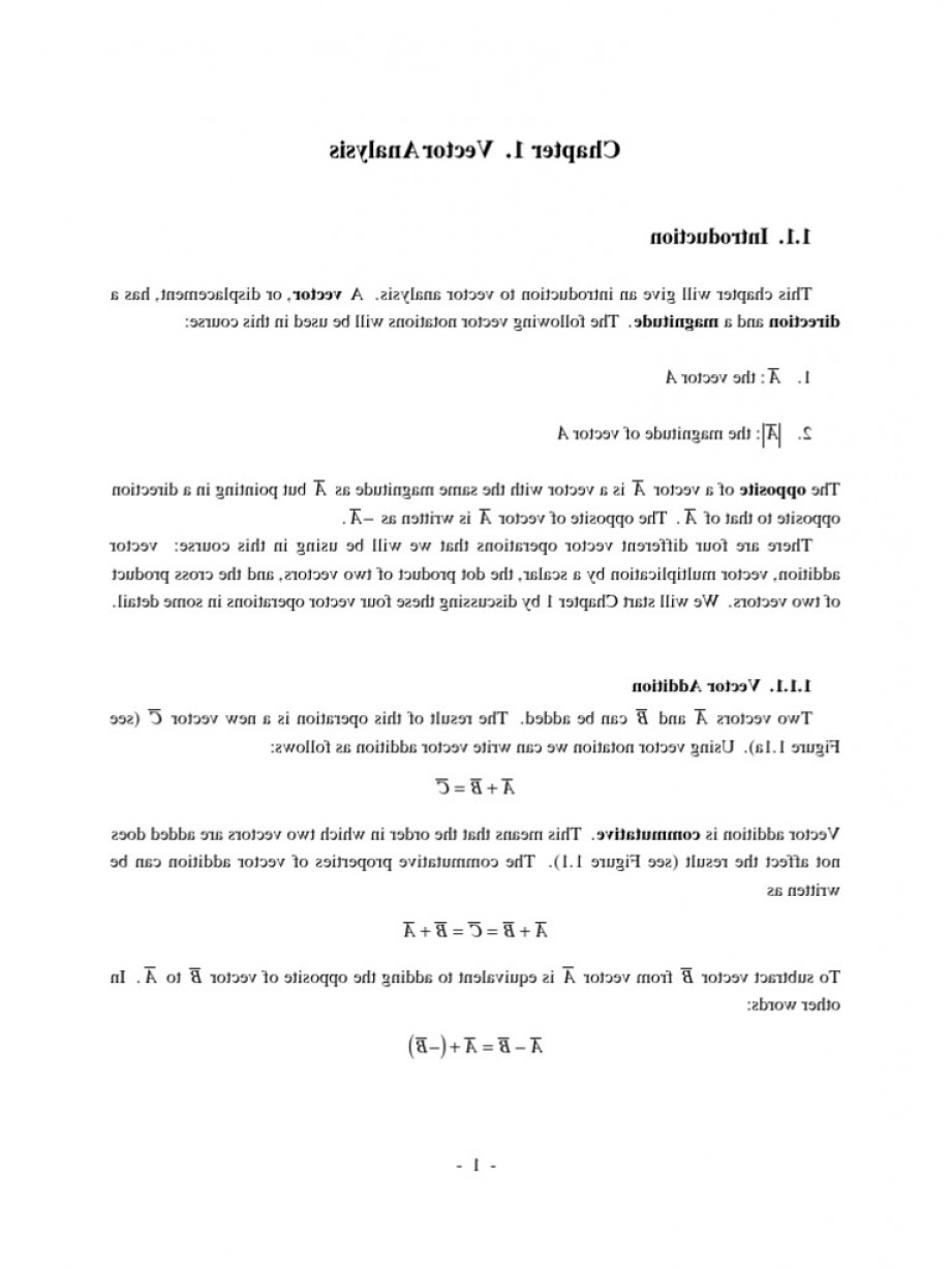 1-1 Vector: Em Lecture Notes Chapter Griffiths