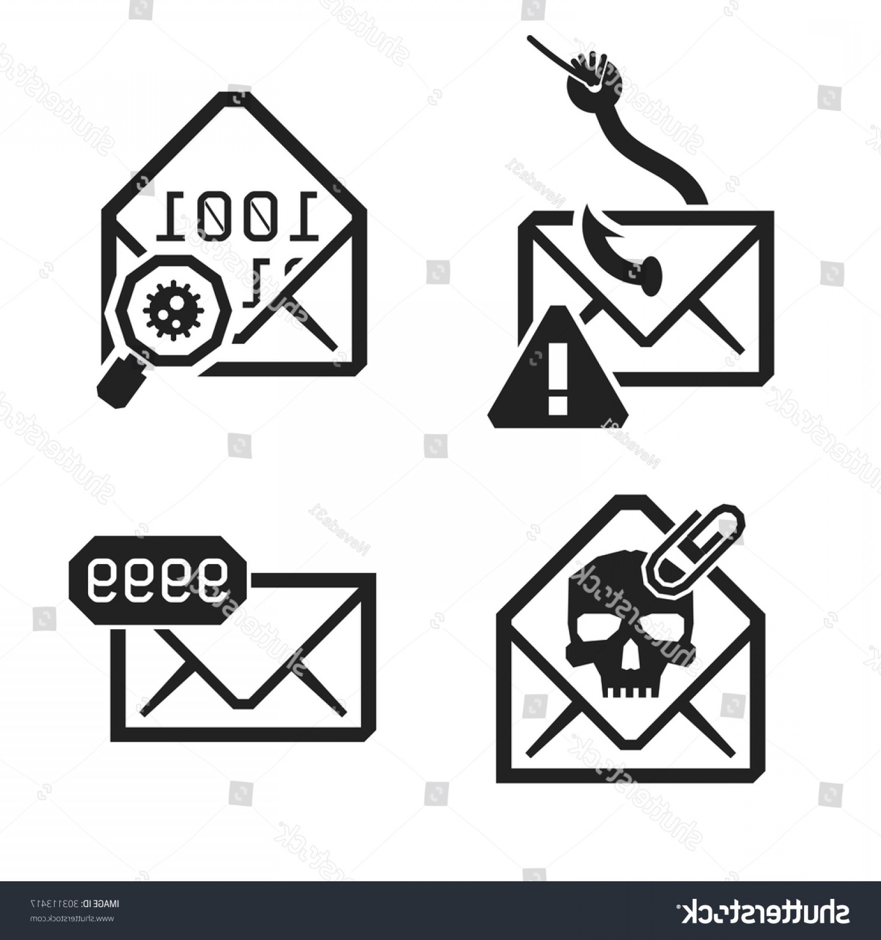 Vector Risk And Safety: Emailing Risk Safety Icons Isolated On