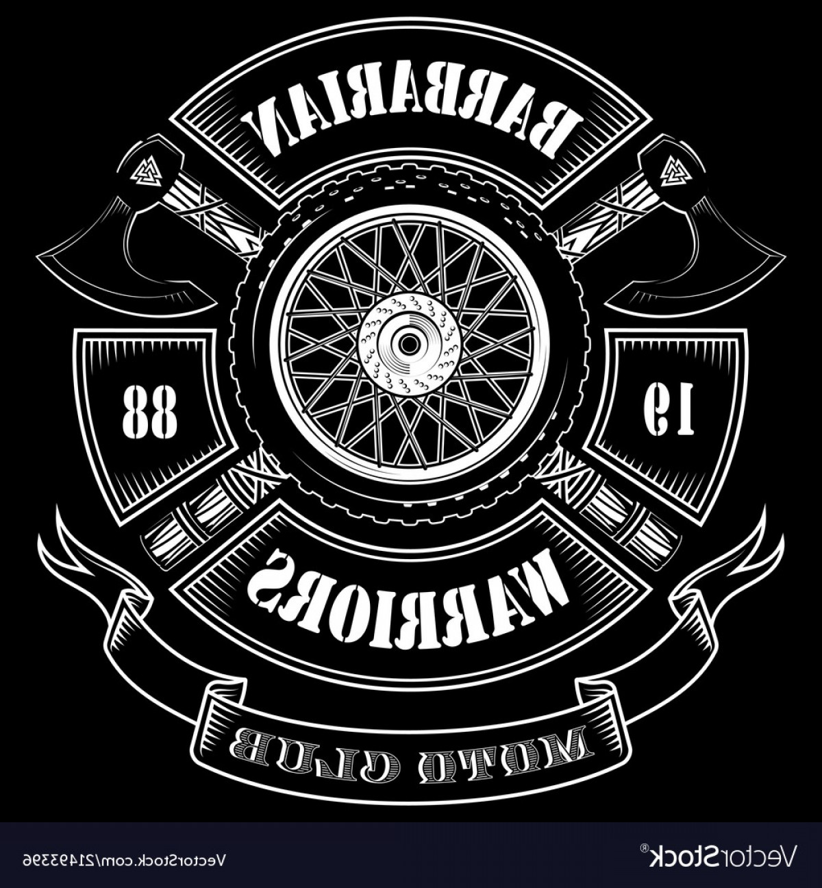 Motorcycle Club Vector: Emblem Of The Motorcycle Club Motorcycle Wheel Vector
