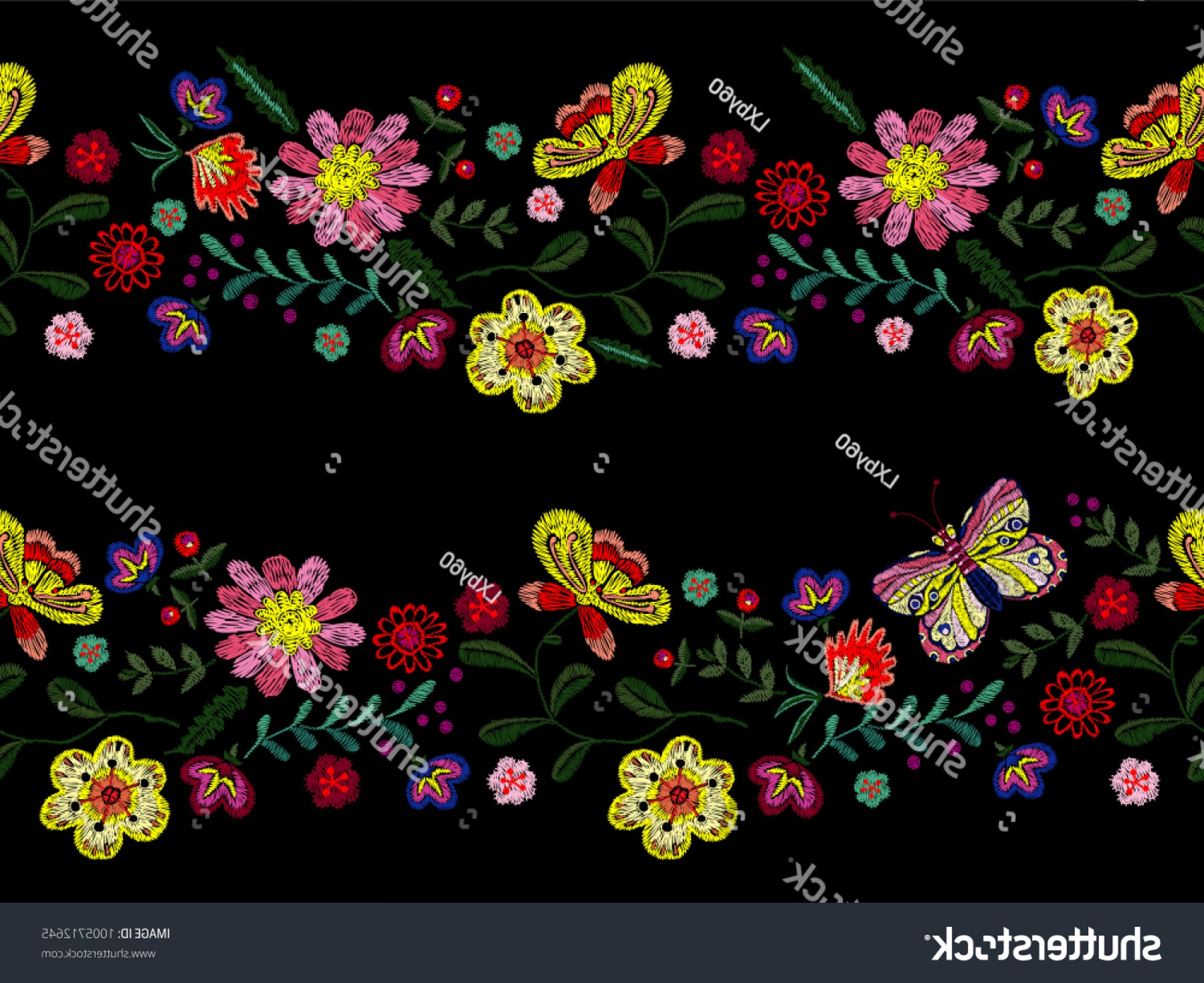 Vector Flower Band: Embroidery Line Seamless Pattern Flowers Butterfly