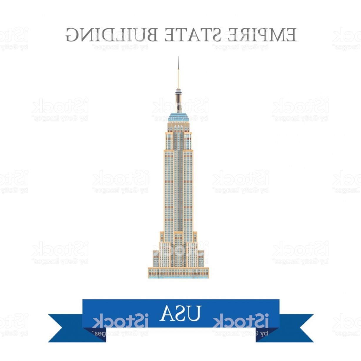 Empire State Vector: Empire State Building In New York United States Flat Cartoon Style Historic Sight Gm
