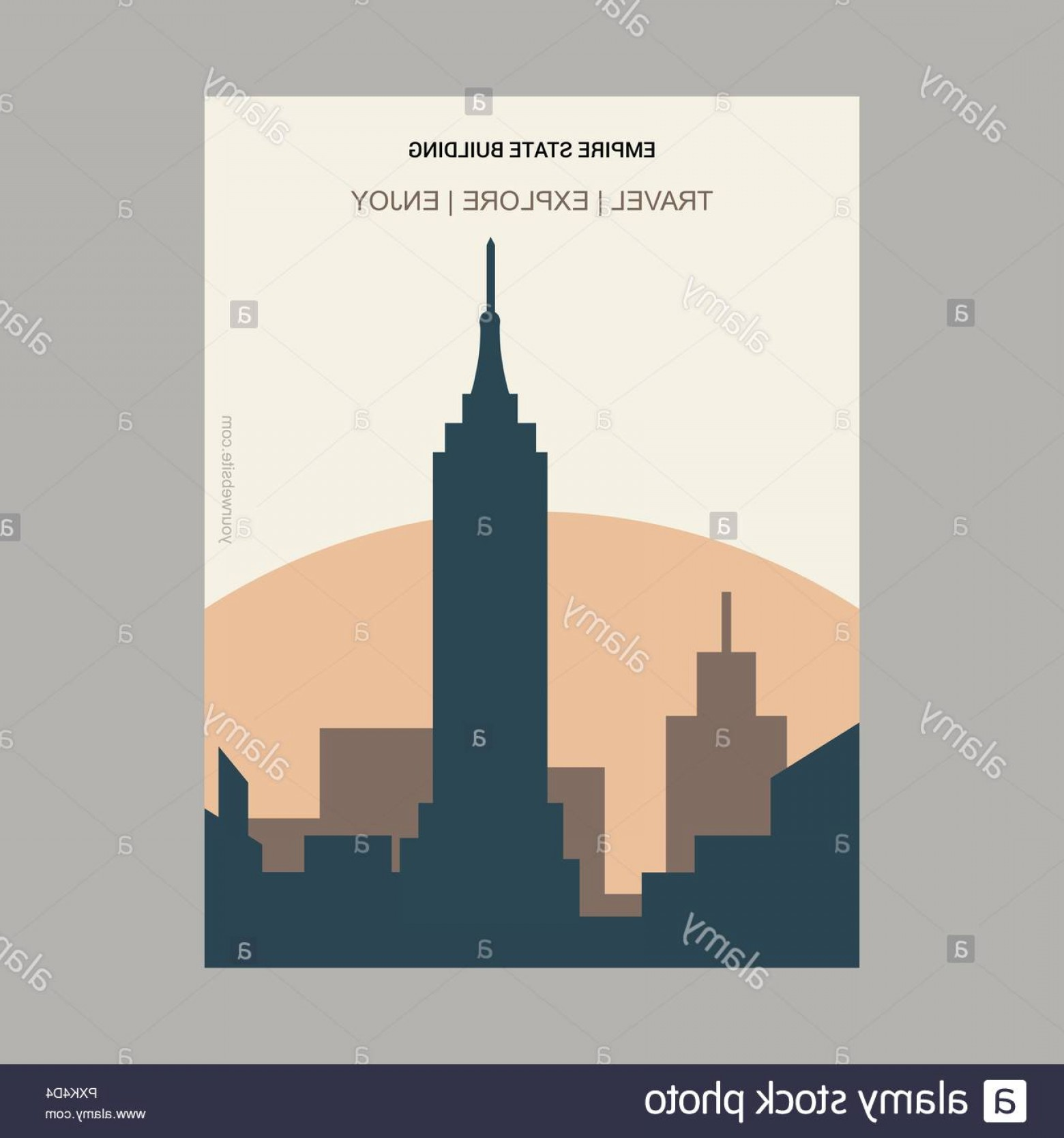 Empire State Vector: Empire State Building Ny Usa Vintage Style Landmark Poster Template Image