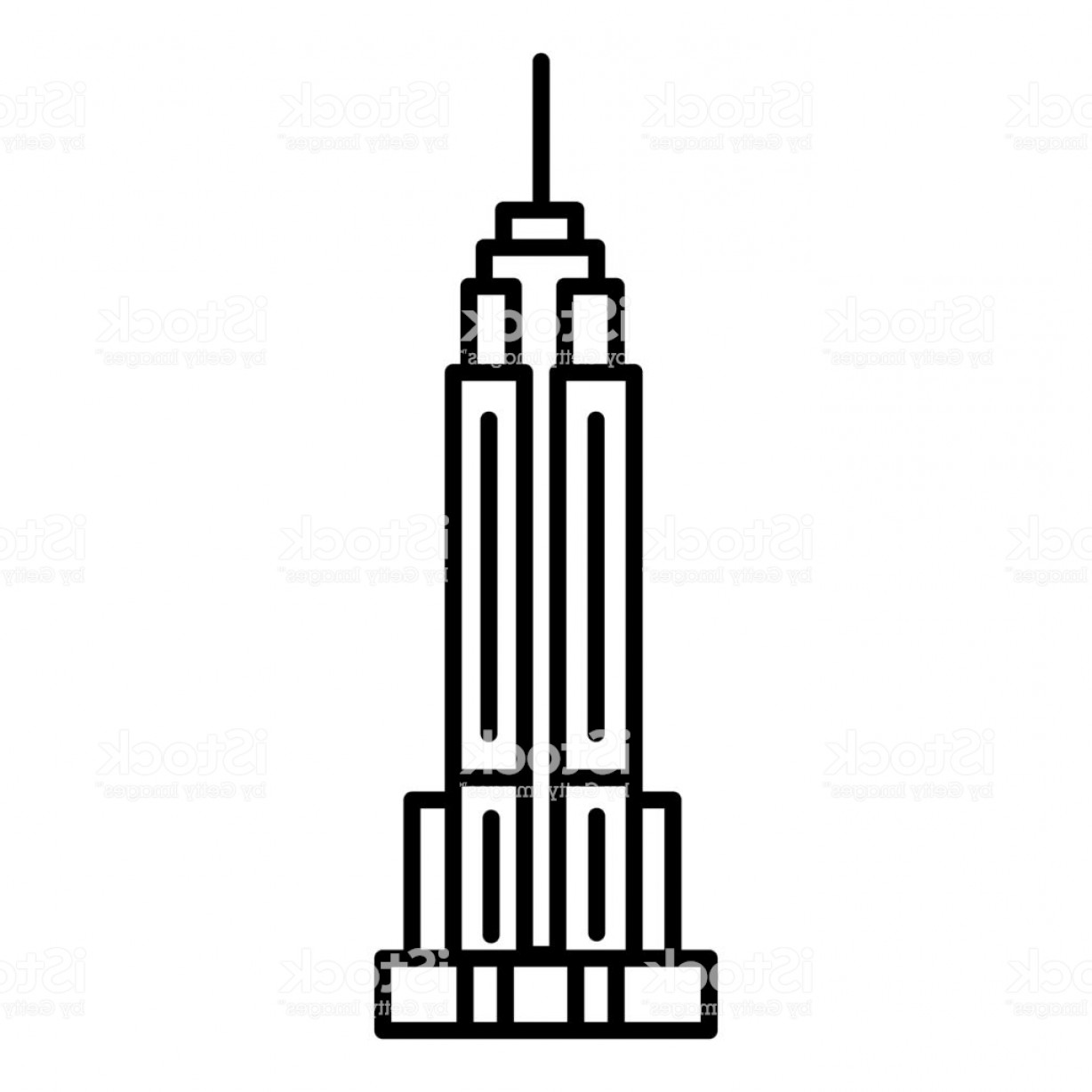 Empire State Vector: Empire State Building Vector Line Icon Sign Illustration On Background Editable Gm