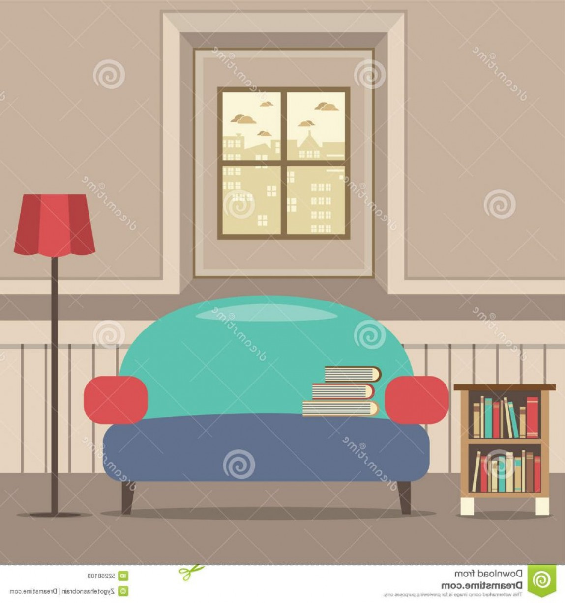 Back Of The Couch Vector: Empty Couch Bookcase Front Window Vector Illustration