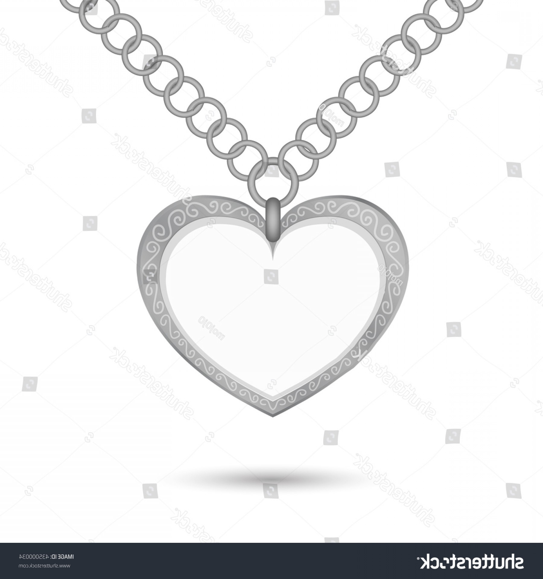 Silver Heart Vector: Empty Silver Heart Necklace Ring Chain