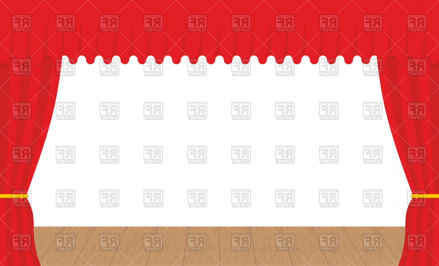 Stage Curtain Vector: Empty Stage Outdoor Red Curtain Vector Clipart