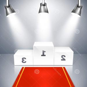 Carpet Vector 2D: Empty Winners Podium With Spotlights Illustration