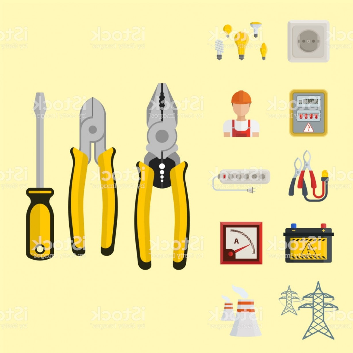 Battery Electricity Vector Images: Energy Electricity Vector Power Icons Battery Illustration Industrial Electrician Gm