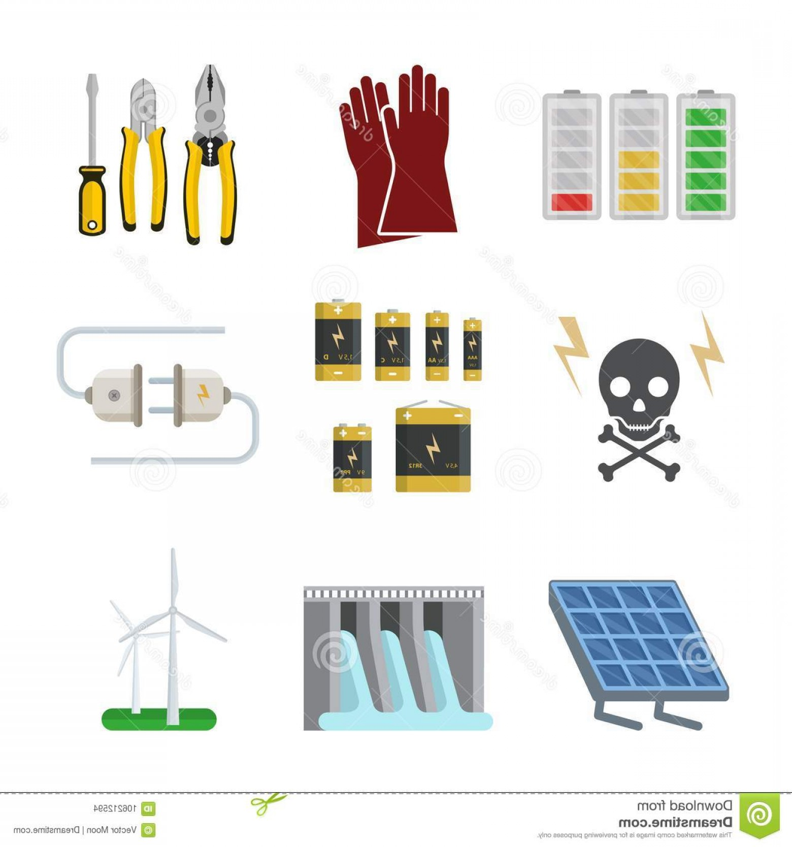 Battery Electricity Vector Images: Energy Electricity Vector Power Icons Battery Illustration Industrial Electrician Voltage Electricity Factory Safety Energy Image