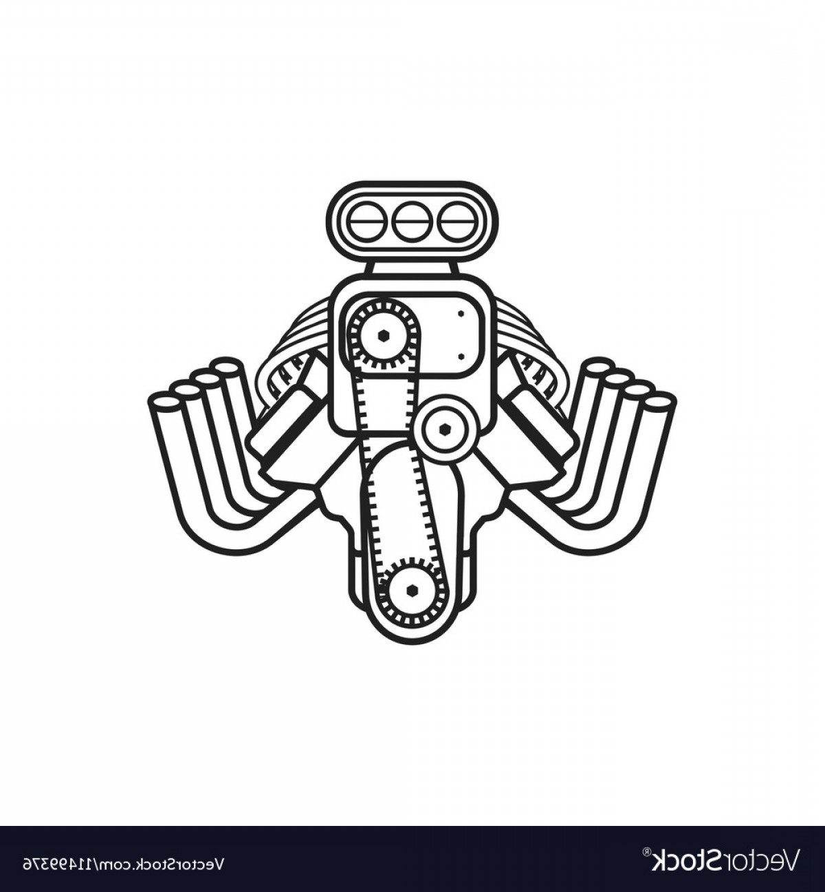 Vector Hot Rod Engines: Engine Hot Rod Muscle Sport Car Speedster Icon Vector