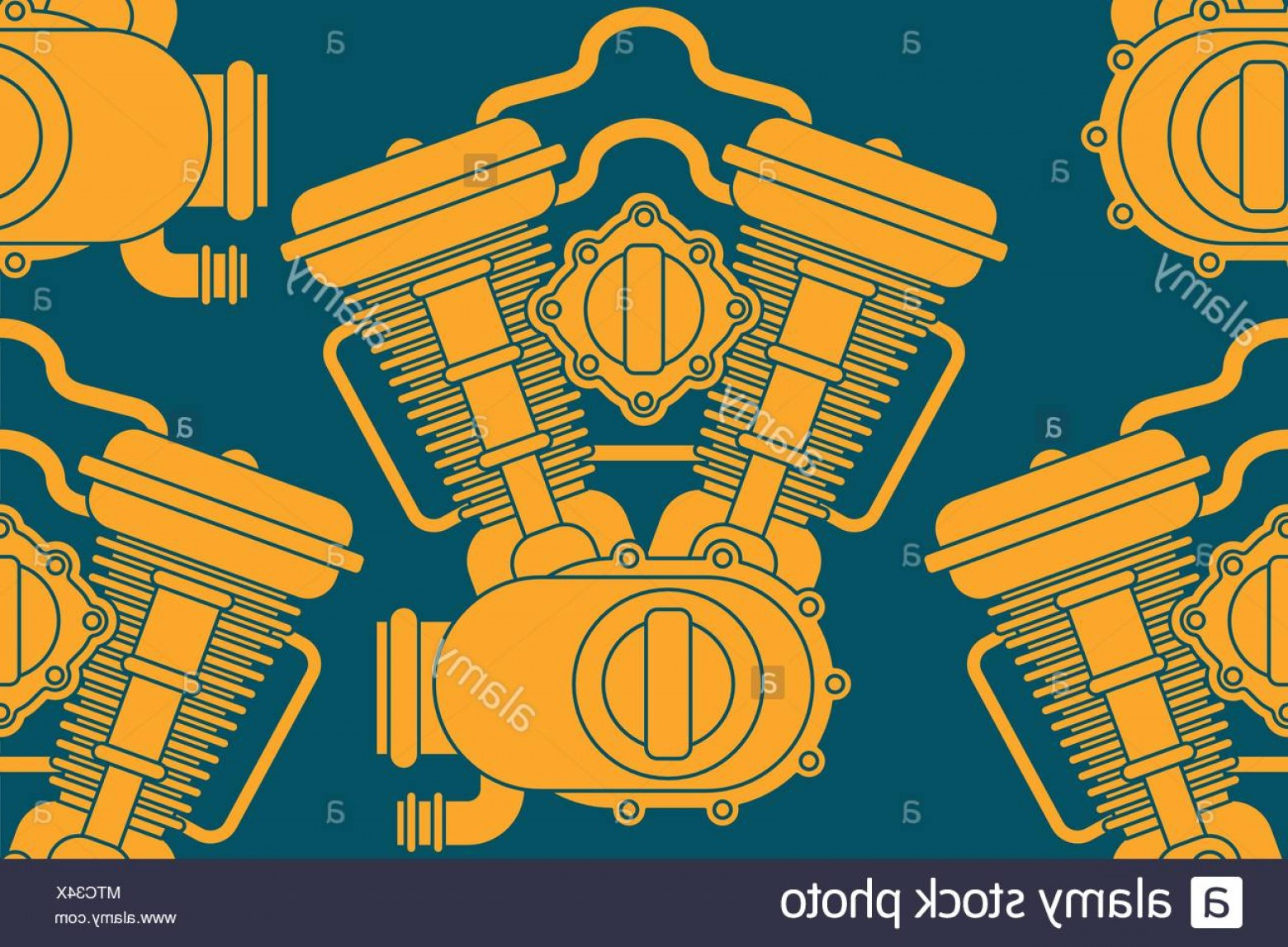 Motor Vector Graphics: Engine Racing Pattern Seamless Motor Motorcycle Background Vector Illustration Image