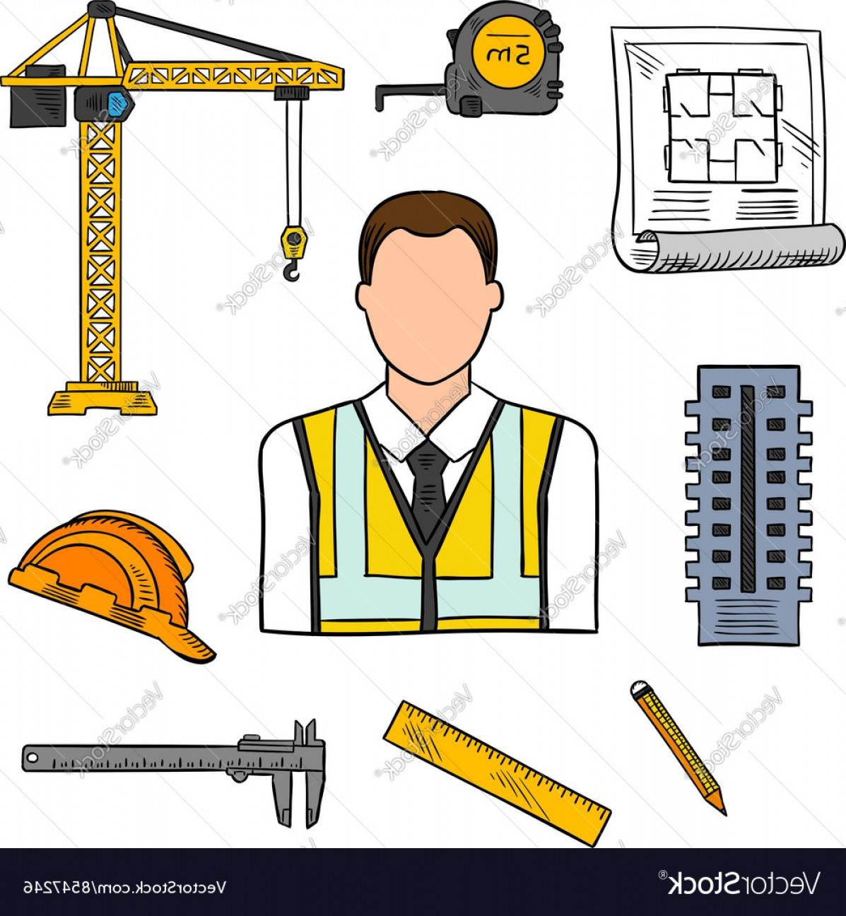 Vector Graphic Of Civil Engineering: Engineer Sketch Icon For Civil Engineering Design Vector