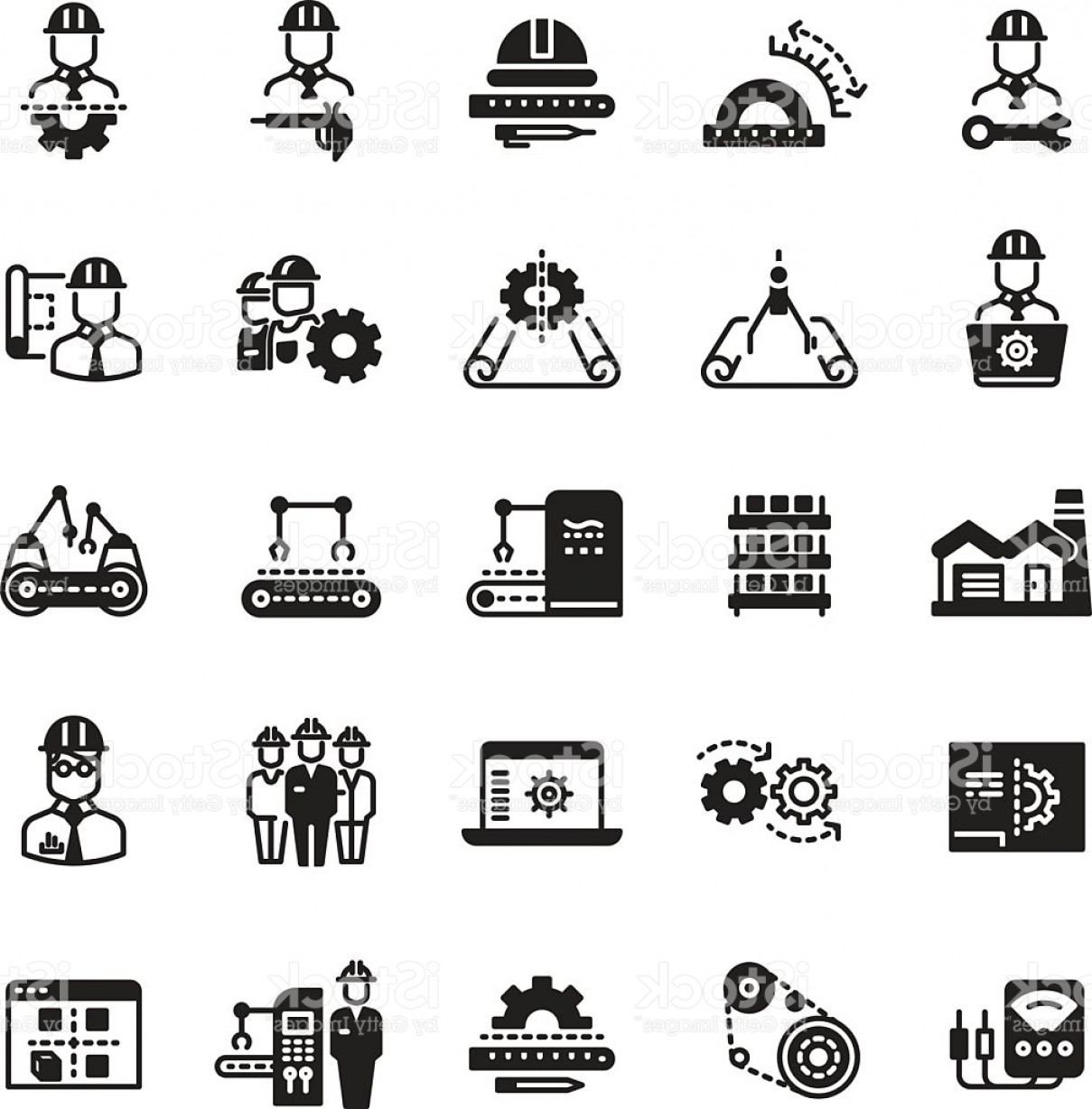 Industrial Vector Art: Engineering Manufacturing Industrial Vector Icon Set Gm
